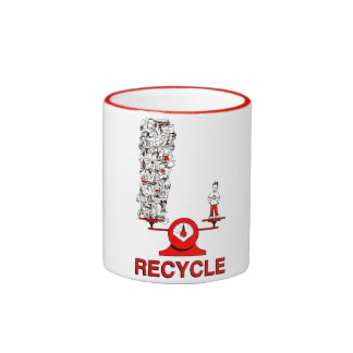 Recicle la taza de la basura