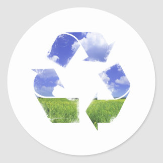 Recicle la vida pegatina redonda