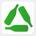 Recicle las botellas pegatina cuadrada