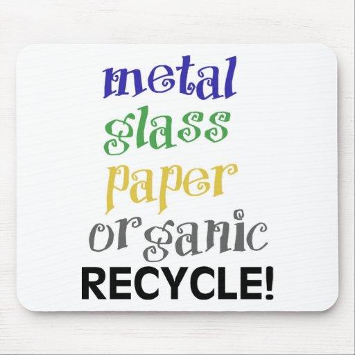 ¡Recicle! ¡Lista de materiales! Alfombrillas De Ratón