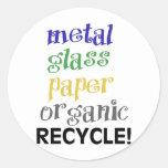 ¡Recicle! ¡Lista de materiales! Etiquetas Redondas