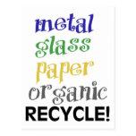 ¡Recicle! ¡Lista de materiales! Postales