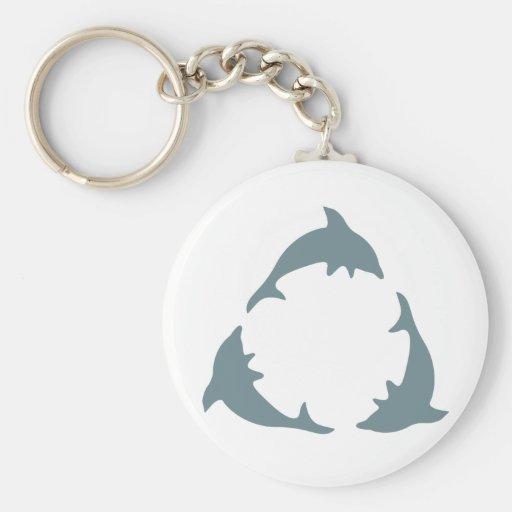 Recicle los delfínes llavero redondo tipo pin