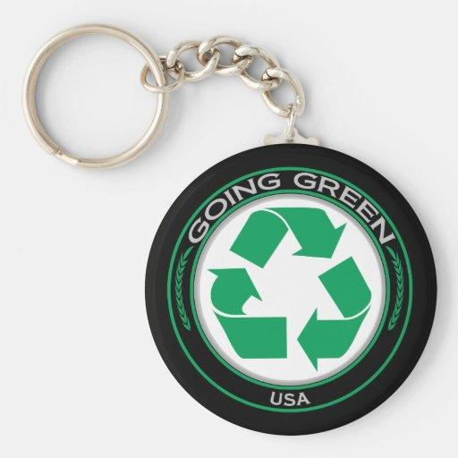 Recicle los E.E.U.U. Llavero Redondo Tipo Pin