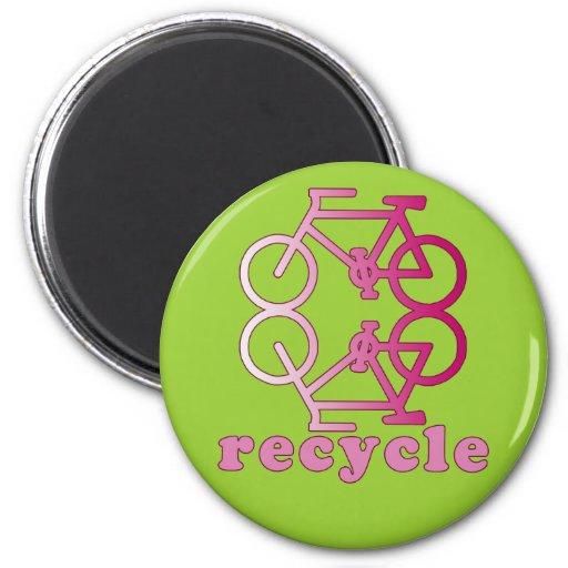 Recicle los productos que montan en bicicleta imán para frigorifico