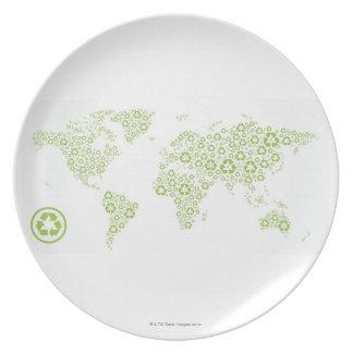 Recicle los símbolos usados para crear el planeta plato para fiesta