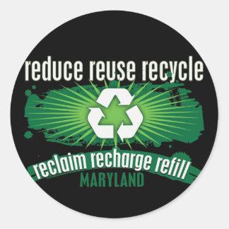 Recicle Maryland Pegatina Redonda