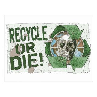 Recicle o muera cráneo tarjetas postales