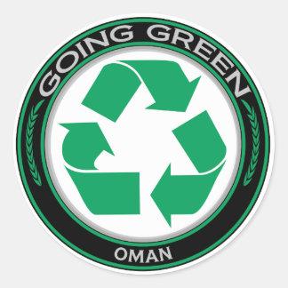Recicle Omán Pegatina Redonda