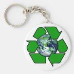 Recicle para la tierra del planeta llaveros