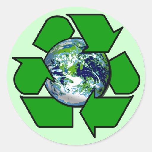 Recicle para la tierra del planeta etiqueta redonda
