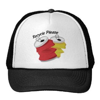 Recicle por favor gorras