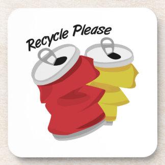 Recicle por favor posavasos de bebidas