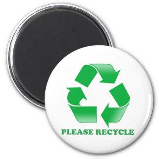 Recicle por favor. Reciclaje de conciencia. Va el  Imán Redondo 5 Cm