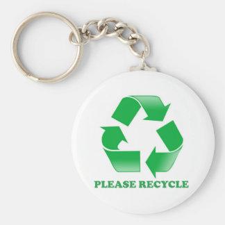 Recicle por favor. Reciclaje de conciencia. Va el  Llavero Redondo Tipo Pin