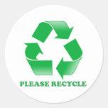 Recicle por favor. Reciclaje de conciencia. Va el Pegatina Redonda