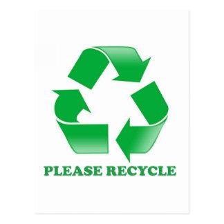Recicle por favor. Reciclaje de conciencia. Va el  Tarjeta Postal