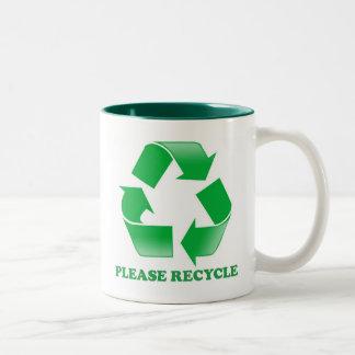 Recicle por favor. Reciclaje de conciencia. Va el  Taza De Café