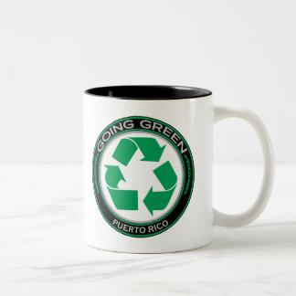 Recicle Puerto Rico Taza De Café De Dos Colores
