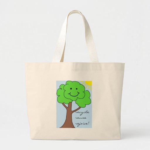 Recicle, reutilice, disfrute el bolso bolsa tela grande