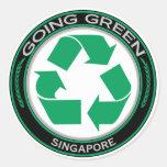 Recicle Singapur Pegatinas Redondas