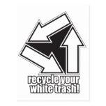 recicle su basura blanca en blanco tarjeta postal