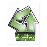 recicle su basura blanca en verde postales