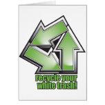 recicle su basura blanca en verde tarjetas