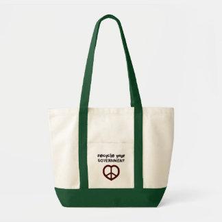 Recicle su tote del corazón de la paz del gobierno bolsa tela impulso