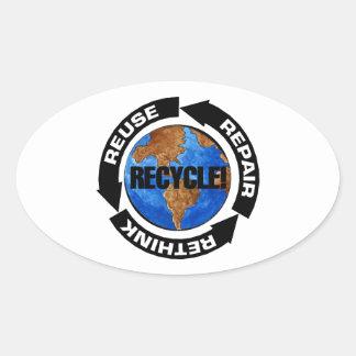 Recicle Worldt Pegatina Ovalada