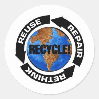Recicle Worldt Pegatina Redonda