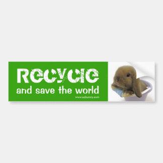 Recicle y ahorre el mundo - pegatina para el parac etiqueta de parachoque