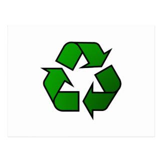 Recicle y reutilice el símbolo - ahorre el planeta tarjeta postal