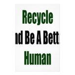 Recicle y sea un mejor ser humano papelería de diseño