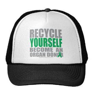 Recíclese donante de órganos gorros bordados