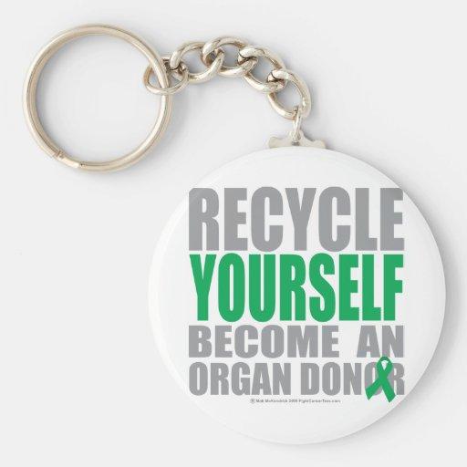 Recíclese donante de órganos llavero redondo tipo pin