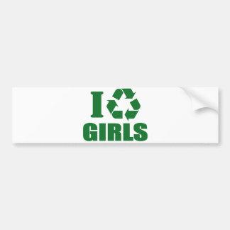 Reciclo a chicas pegatina para auto