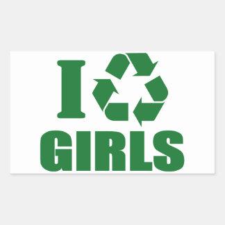 Reciclo a chicas pegatina rectangular
