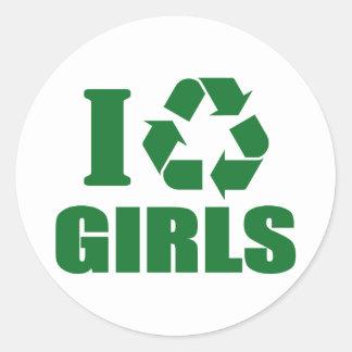 Reciclo a chicas pegatina redonda
