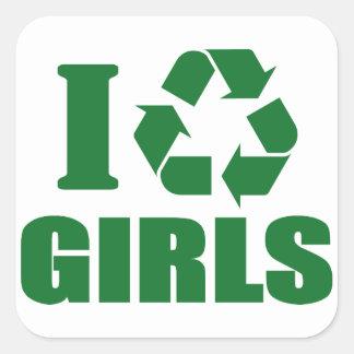 Reciclo a chicas pegatina cuadrada