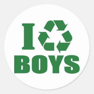 Reciclo a muchachos pegatina redonda