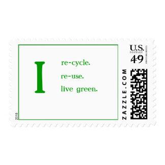 Reciclo, reutilizo, verde vivo sellos postales