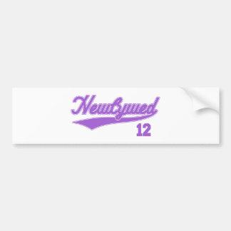 Recién casado 12 (púrpura de la escritura del béis etiqueta de parachoque