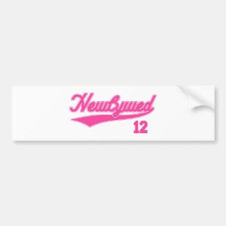 Recién casado 12 (rosa de la escritura del béisbol pegatina de parachoque