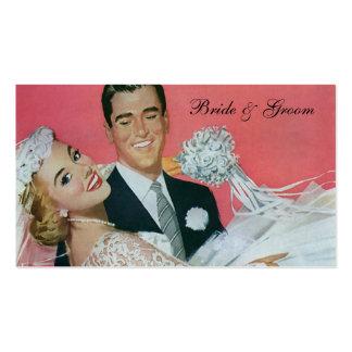 Recienes casados del boda del vintage, novia que tarjetas de visita