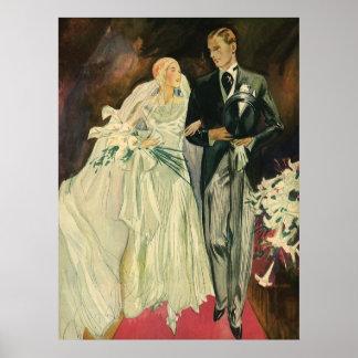 Recienes casados del novio de la novia del boda de posters