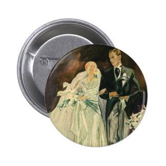 Recienes casados del novio de la novia del boda chapa redonda 5 cm