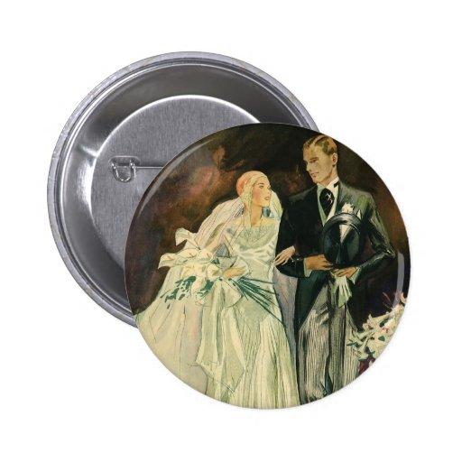 Recienes casados del novio de la novia del boda pin