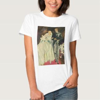 Recienes casados del novio de la novia del boda playera