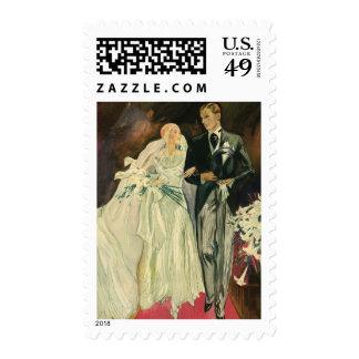 Recienes casados del novio de la novia del boda timbre postal